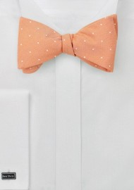 Micro Dot Bow Tie in Peach Coral