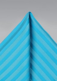 Aqua Blue Striped Pocket Square