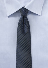 Skinny Striped Tie in Midnight