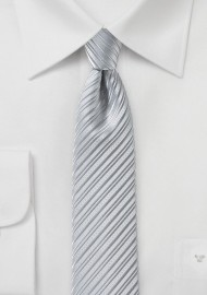 Silver Skinny Tie with Modern Stripes