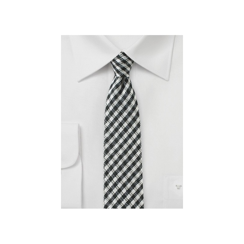 Trendy Gingham Check Skinny Tie