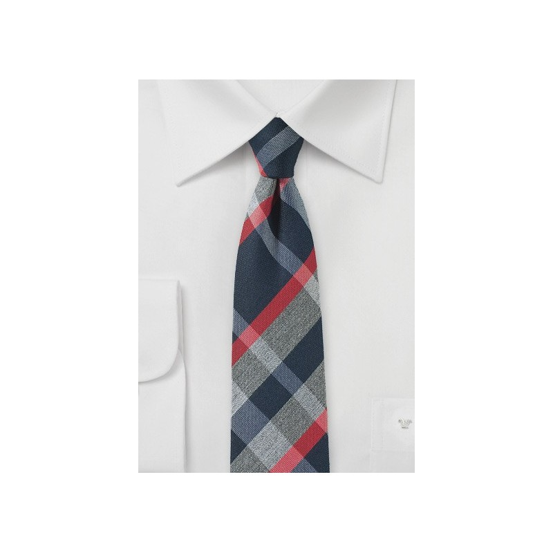 Modern Tartan Skinny Tie in Gray, Blue and Red