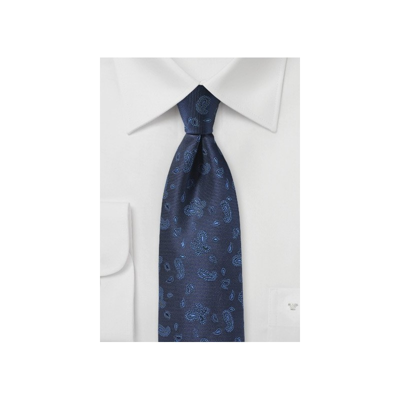 Woven Paisley Tie in Rich Blues