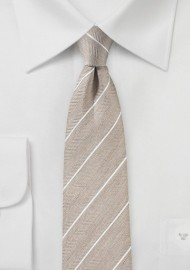 Tan Colored Striped Linen Tie