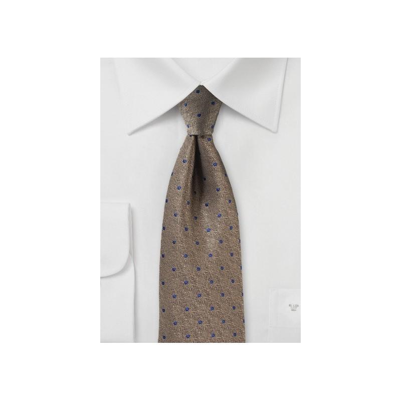 Bronze Textured Tie with Blue Dots