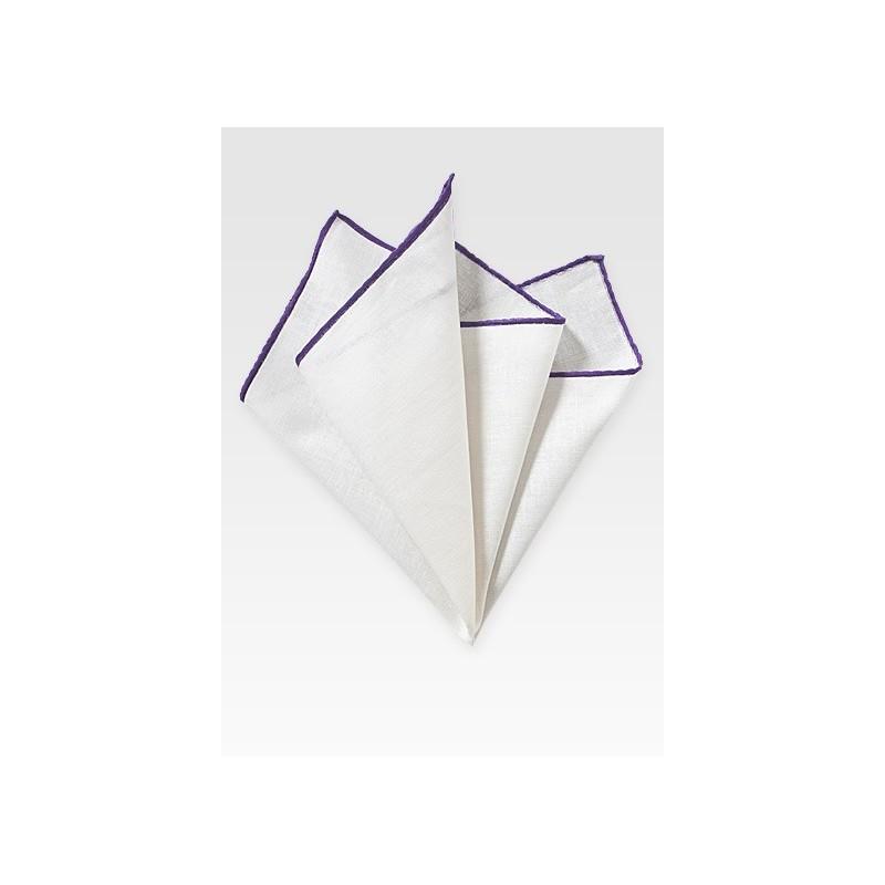 White Pocket Square with Purple Border