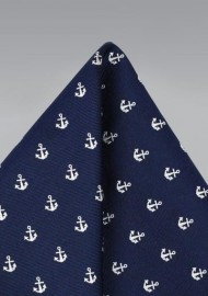 Navy Pocket Square with Anchors