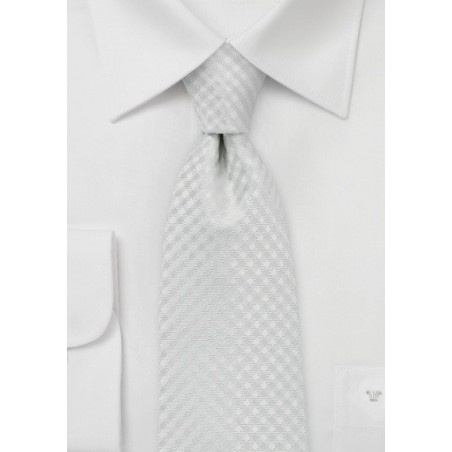 Micro Check XL Tie in Eggshell White