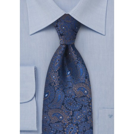 Elegant Woven Paisley Tie in XL Length