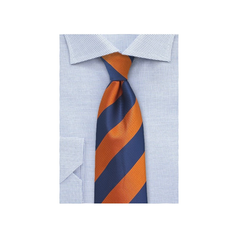 Navy and Orange Repp Textured XL Tie