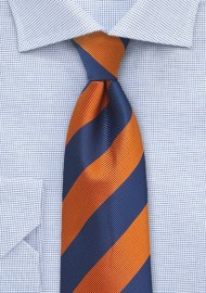 Repp Stripe Kids Tie in Navy and Orange