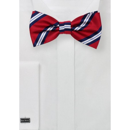 Repp Stripe Bow Tie in Red and Blue