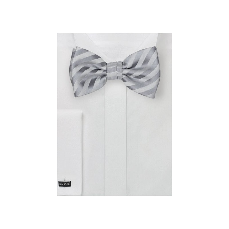 Silver Striped Bow Tie