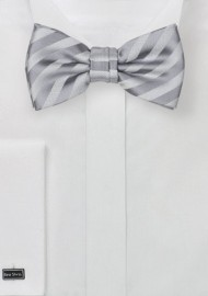 Kids Striped Bow Tie in Silver