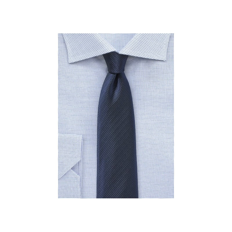 Navy Skinny Tie with Ribbed Texture