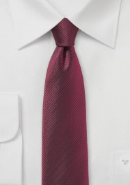 Burgundy Red Skinny Tie with Stripe Texture