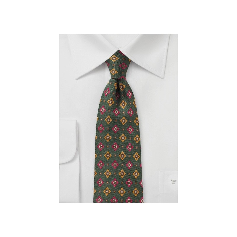 Ivy Green Medallion Print Silk Tie
