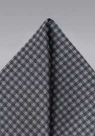 Gingham Check Pocket Square in Heather Gray