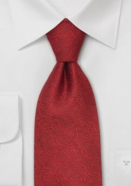 Modern Red Paisley Silk Designer Tie in XL