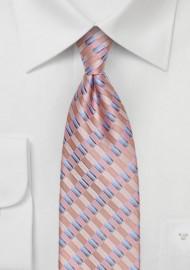 Salmon Pink Checkered Tie