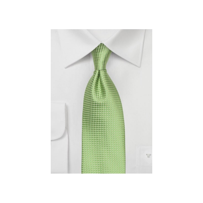 Lime Green Mens Tie with Micro Check