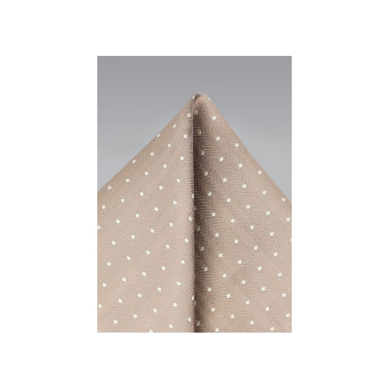 Polka Dot Pocket Square in Fawn