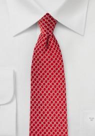 Satin Silk Tie in Tomato Red