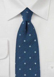 Raw Silk Polka Dot Tie in Denim Blue
