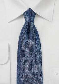 Cross Woven Silk Tie in Blue