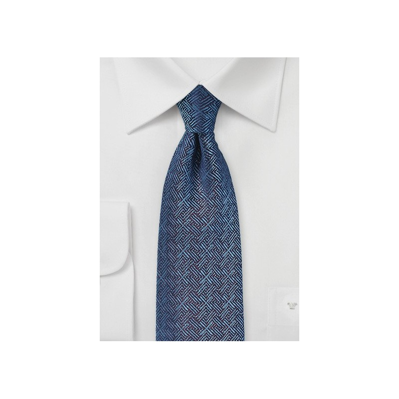 Cross Woven Silk Tie in Blue