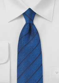 Deep Blue Designer Tie with Modern Stripe