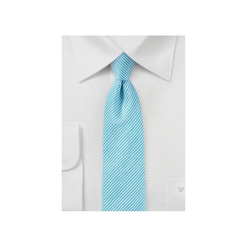 Sky Blue Striped Linen Tie