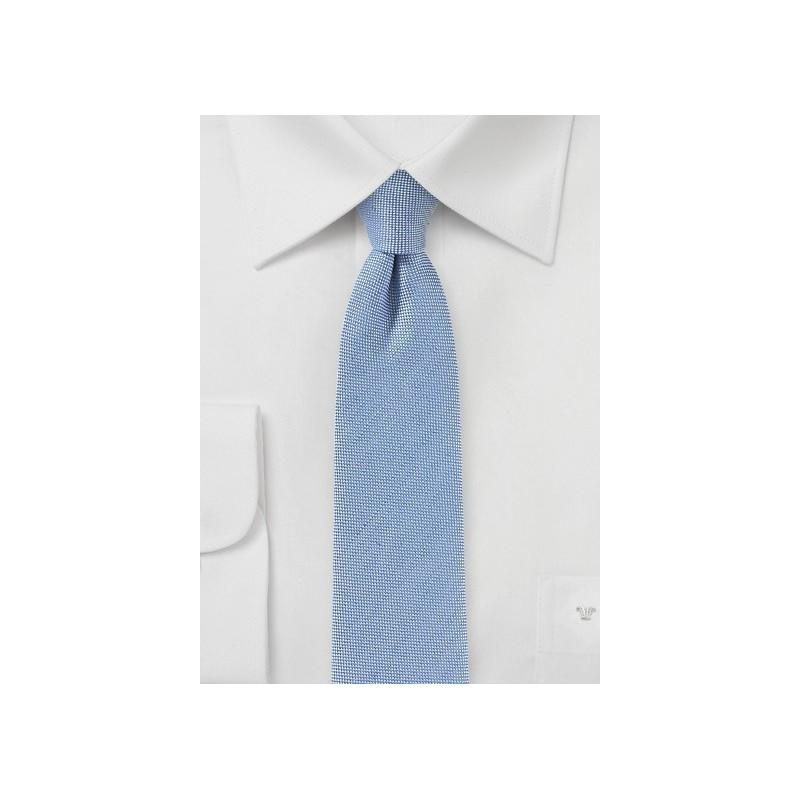 Linen Skinny Tie in Faded Denim Blue