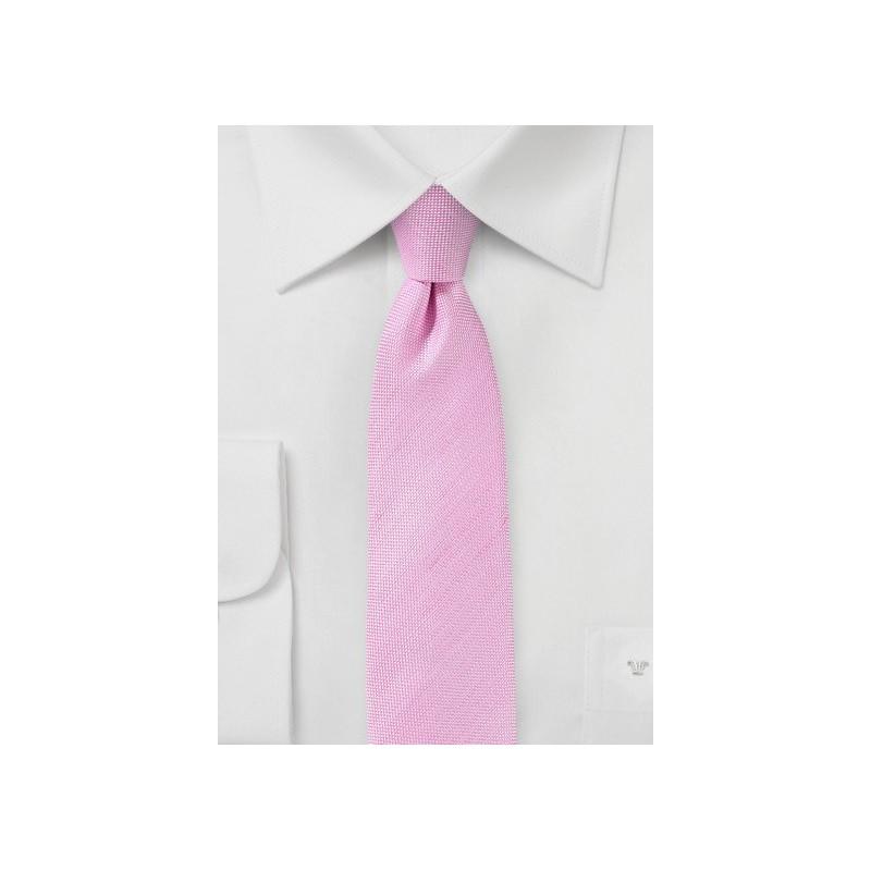 Begonia Pink Skinny Linen Tie