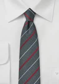 Graphite Gray Striped Skinny Tie