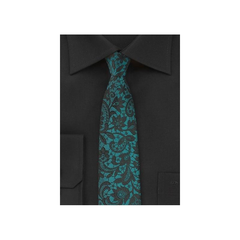 Ocean Teal Blue Floral Tie