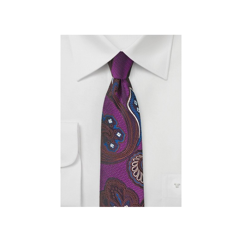 Psychedelic Paisley Tie in Violet, Red, and Blue