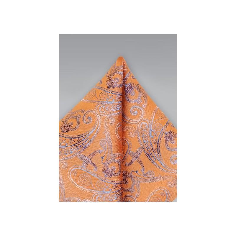 Orange Paisley Pocket Square
