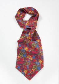 Floral Ascot Tie in Red