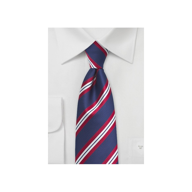 Classic Navy and Red Striped Tie in XL