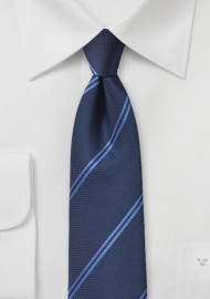Modern Double Striped Tie in Blue