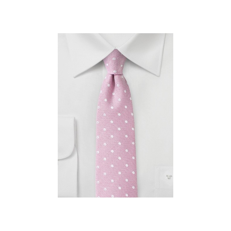Rose Pink Polka Dot Tie in Linen and Silk