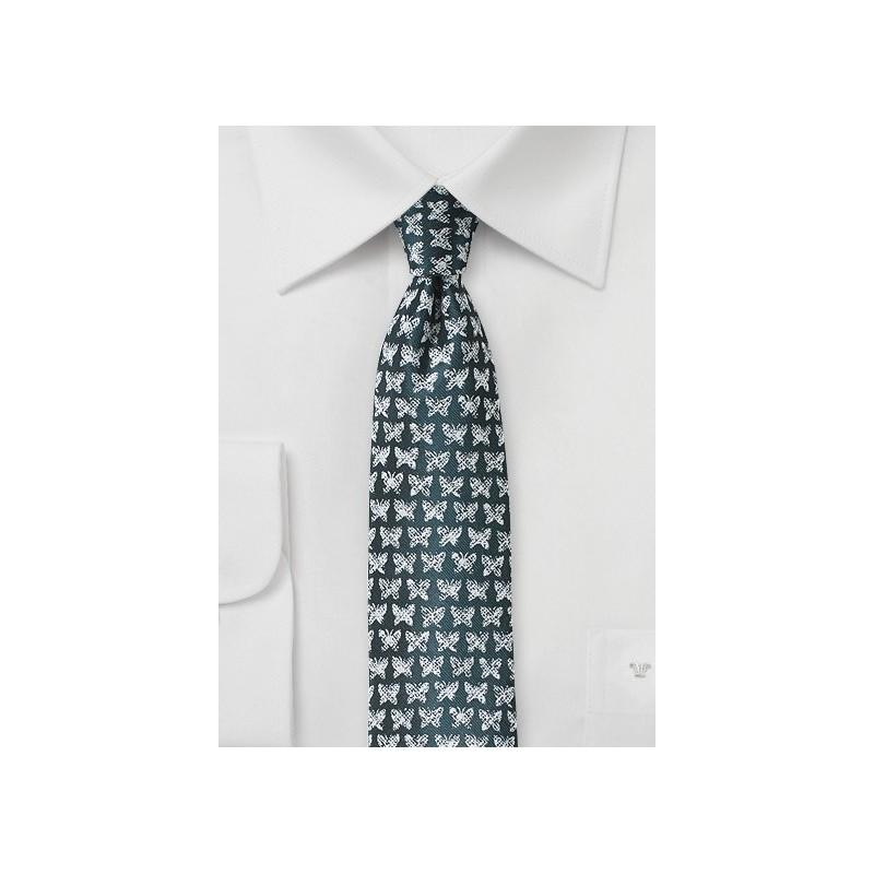 Butterfly Print Tie in Dark Spruce
