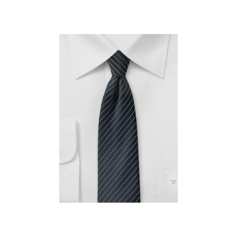 Jet Black Pencil Stripe Tie