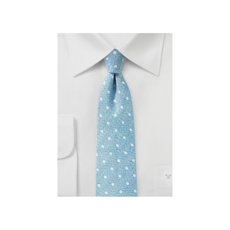 Polka Dot Tie in Aquamarine