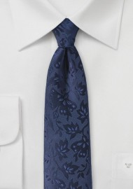 Floral Silk Tie in Midnight Blue
