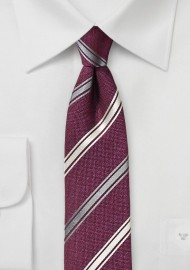 Wine Red Striped Silk Tie