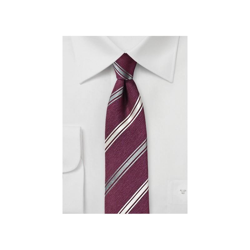 Wine Red Striped Silk Tie