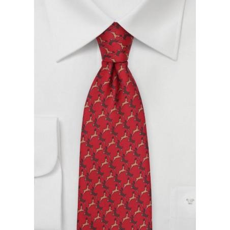 Reindeer Print Christmas Tie in Cherry Red