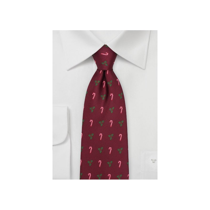 Candy Canes and Mistletoes Tie in Burgundy